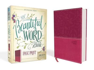 NIV, Beautiful Word Bible, Large Print, Imitation Leather, Pink