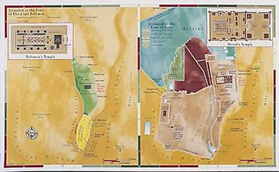 Picture of Abingdon Bible Land Map--Jerusalem, Old Testament/New Testament Comparison