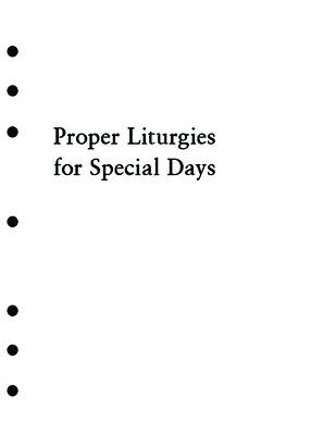 Holy Eucharist Proper Liturgies for Special Days Inserts