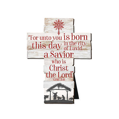 Savior is Born MDF Cross 5 3/4