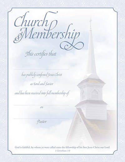 Certificate of Membership I Corinthians 1:9 (Package of 6)