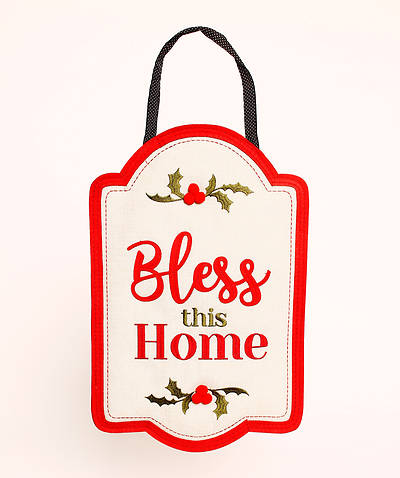 Picture of Bless This Home Burlap Door Decor