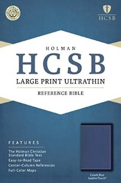 HCSB Large Print Ultrathin Reference Bible, Cobalt Blue Leathertouch