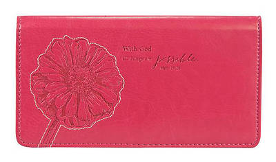 Picture of Pink Checkbook Cover with God All Things Are Possible Matthew 19:26