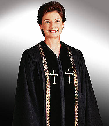 Picture of Qwick-Ship RT Wesley Wonder Crepe Women's Robe with Matching Velvet Panels and Gold Latin Crosses Black - HF591