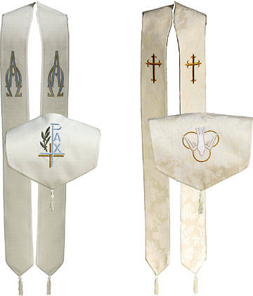 Tunic Reversible Overlay Stole with Alpha & Omega/Latin Cross & Dove Symbols