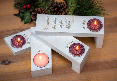 Picture of Faith Hope Peace Joy Fan Advent Set with Tea Lights Boxed