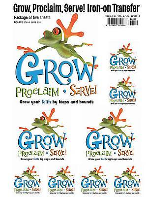 Grow, Proclaim, Serve! Sunday School Iron-On (Pkg of Five Sheets)