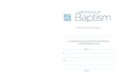Picture of Water and Clouds Folded Baptism Certificate
