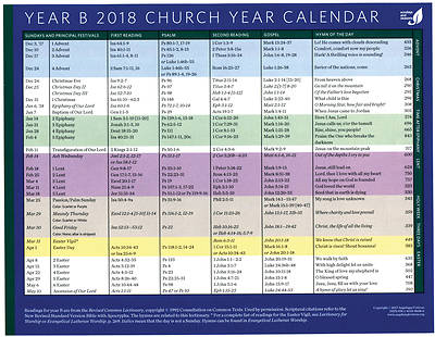 church year calendar year b 2018