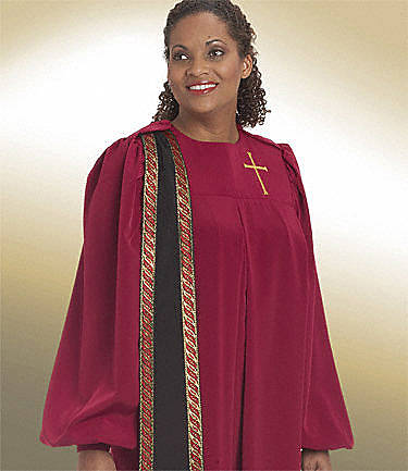 Picture of Qwick-Ship Evangelist Peachskin Women's Robe with Detachable Black Peachskin Banner and Gold Flare Cross Purple - FH582