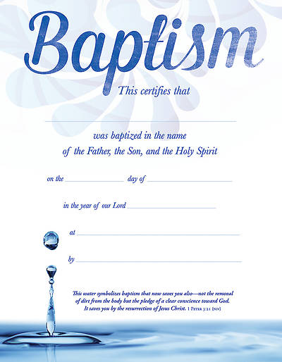 Picture of Baptism Certificate - 1 Peter 3:21 (NIV) - (PK 6)