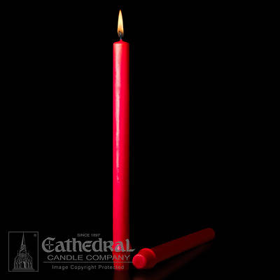 "Cathedral 51% Beeswax Christmas Red Altar Candles - 7/8"" x 12"""