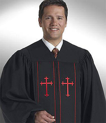 Picture of Qwick-Ship Cleric Wonder Crepe Men's with Scarlet Latin Crosses White - SM44