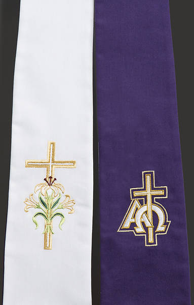 Premium Reversible Lent/East Stole - Purple & White