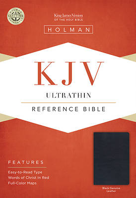 Picture of KJV Ultrathin Reference Bible, Black Genuine Leather