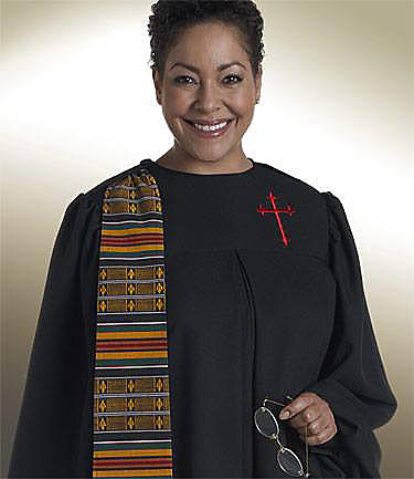 Picture of Qwick-Ship Evangelist Wonder Crepe Women's Robe with Detachable Woven Kente Banner and Red Latin Cross Black - HF570