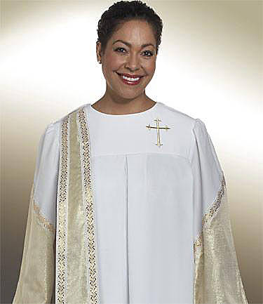 Picture of Qwick-Ship Evangelist Lamé Women's Robe with White-Gold Lamé Lower Sleeves/Detachable Banner and Gold Latin Cross White - HF597