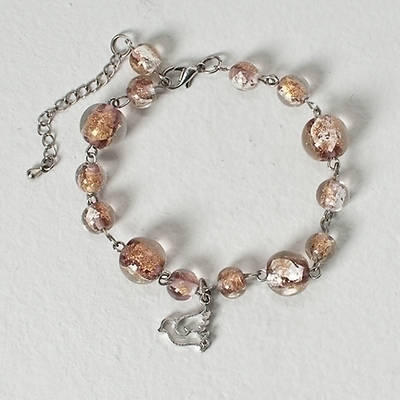 Confirmation Bracelet - Glass Beads with Dove Charm