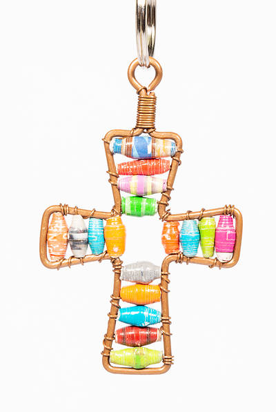 Picture of Paper Bead Cross Keychain