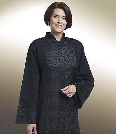 Picture of Qwick-Ship Abigail Linette Women's Robe with Matching Damascene Brocade Cuffs, Front and Upper Back Panels Black - HF663