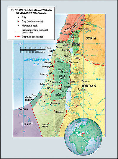Picture of Modern Political Divisions of Ancient Palestine map