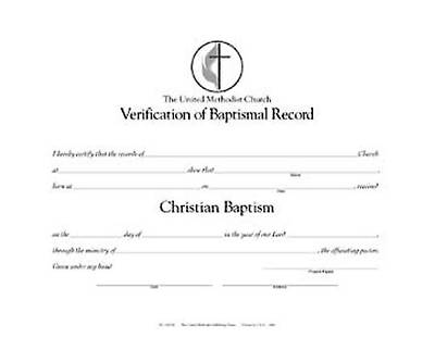 The United Methodist Church Verification of Baptismal Record (Pkg of 12)