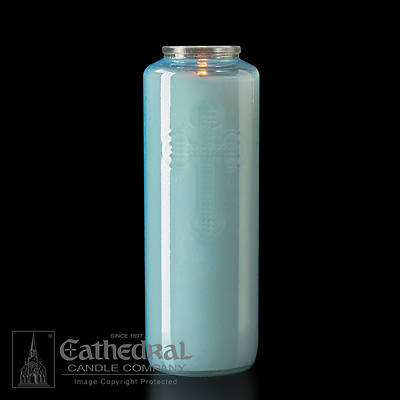 Cathedral 6-Day Glass Offering Candle - Marial Blue