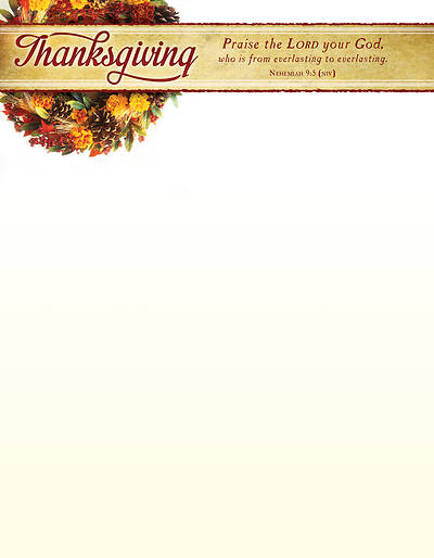 Picture of Praise The Lord Thanksgiving Letterhead  - Pack of 100