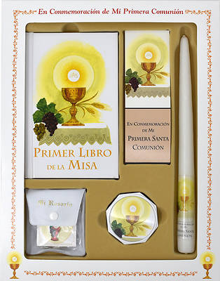 Primer Libro de la Misa Deluxe Girl Set [With Taper Candle, Rosary, Communion Supplies]