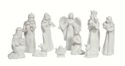 White Resin Nativity Set Boxed - 10 Piece