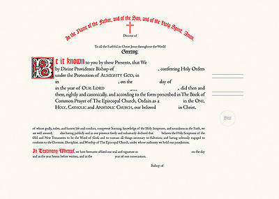 Ordination Certificate with Ribbon