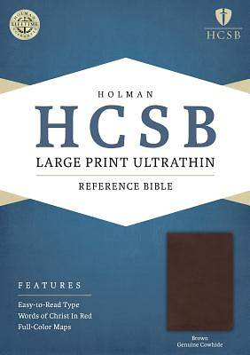 Picture of HCSB Large Print Ultrathin Reference Bible, Brown Genuine Cowhide