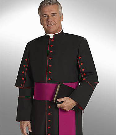 Picture of Qwick-Ship House Viva Men's Cassock with Tab Collar, Scarlet Buttons and Imperial Satin Lining Black - HM455