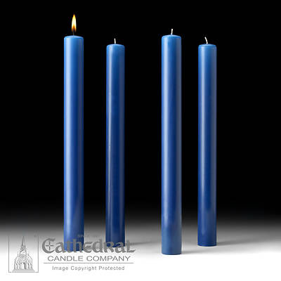 """Picture of Cathedral 51% Beeswax Advent Candle Set 16"""" X 1-1/2"""" - 4 Sarum Blue"""