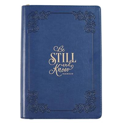Journal Classic Zippered Luxleather Be Still - Psa 46