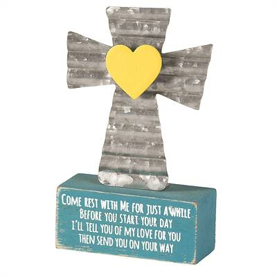 "Come Rest With Me Metal And Wood Tabletop Cross 4""H"