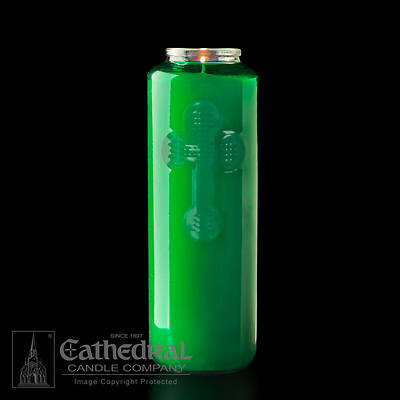 Cathedral 6-Day Glass Offering Candle - Green