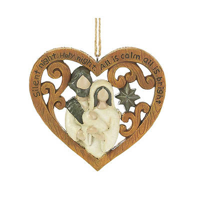 Silent Night Holy Family Wood Look Ornament