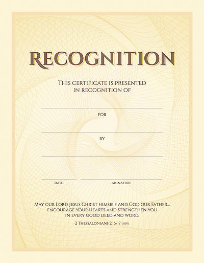 Recognition Certificate - 2 Thessalonians 2:16-17 (NIV) - (PK 6)