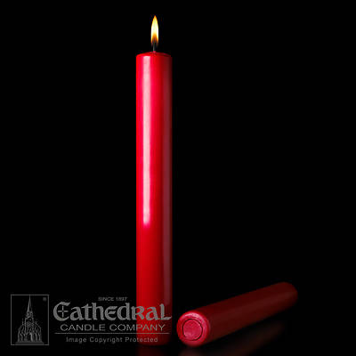 "Cathedral 51% Beeswax Christmas Red Altar Candles - 1-1/2"" x 12"""