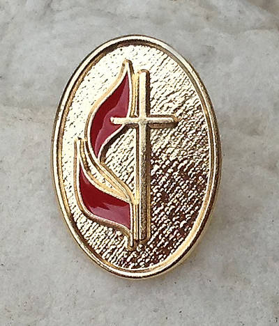 Picture of UM Cross & Flame Oval Lapel Pin - Gold Plated