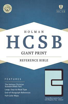 HCSB Giant Print Reference Bible, Brown/Blue Leathertouch with Magnetic Flap Indexed