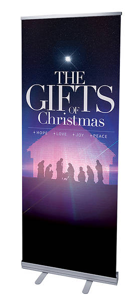 Picture of The Gifts of Christmas Advent RollUp Banner with Stand