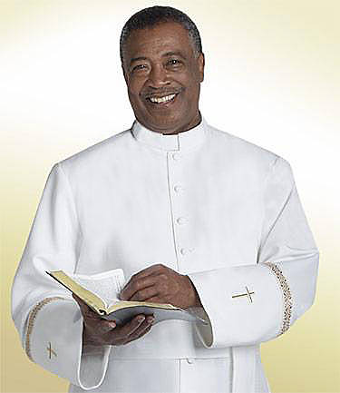 Qwick-Ship Linette Mens Cassock with Tab Collar, White-Gold Metallic Trim and Gold Solid Cross White - HM537