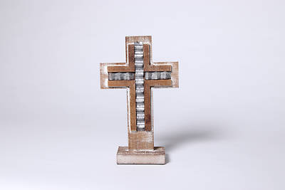 Small Wood Galvanized Strip Cross Stand