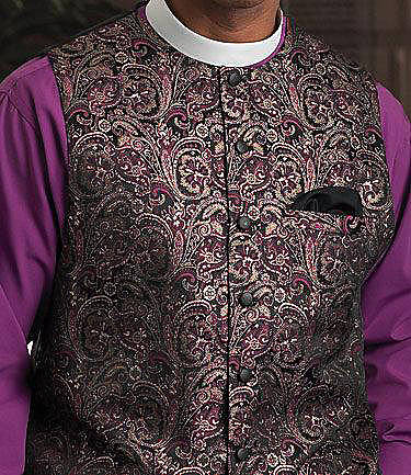 Picture of Qwick-Ship Paisley Tapestry Metallic Brocade Clergy Vest with Neckband Collar Bishop Purple/Black/Gold Metallic - HM519