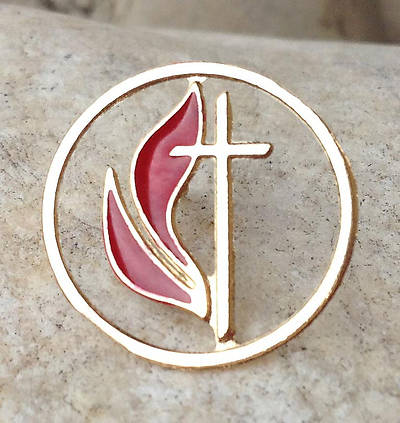 Cross and Flame Cutout Gold Lapel Pin