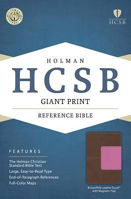 HCSB Giant Print Reference Bible, Pink/Brown Leathertouch with Magnetic Flap