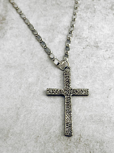 Mens Textured Pewter Cross - 24